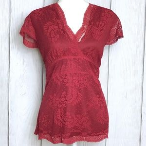 New York & Company Sexy Red Lace Blouse
